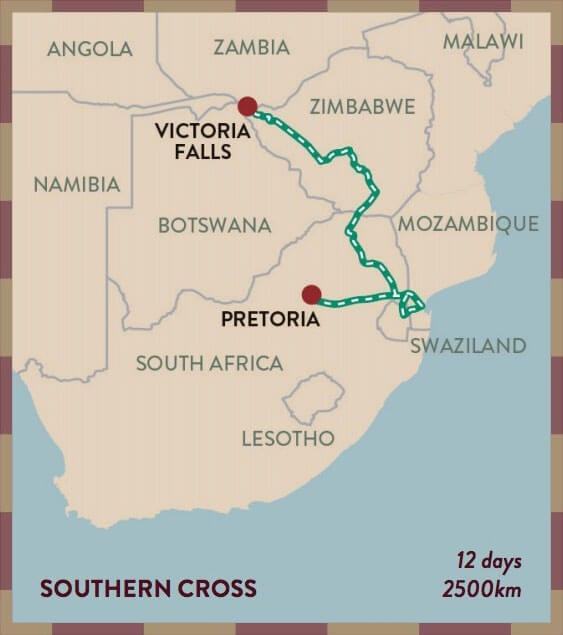 Southern Cross Map Thumbnail - Shongololo Express
