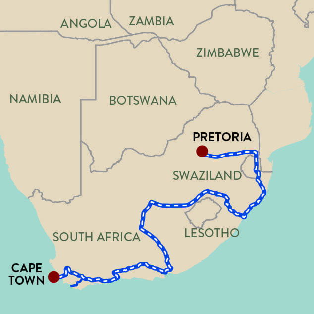 Panorama Route South Africa Map.Good Hope Shongololo Express