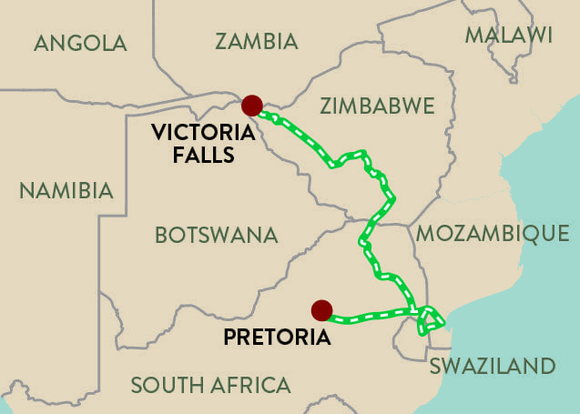 Panorama Route South Africa Map.Southern Cross Shongololo Express